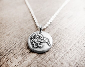 Tiny kiwi bird necklace, silver kiwi jewelry - New Zealand eco friendly