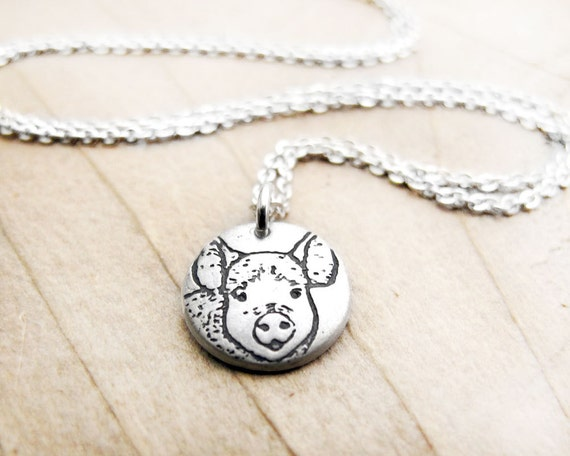 Tiny pig necklace, silver pig pendant, pig jewelry