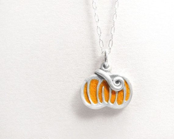Halloween jewelry, pumpkin necklace concrete, sterling silver Fall harvest pendant orange