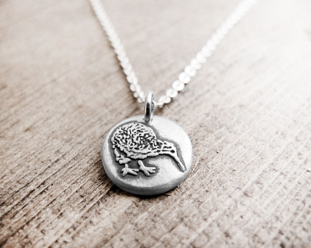 Tiny Kiwi Bird Necklace Silver Kiwi Jewelry New Zealand Eco