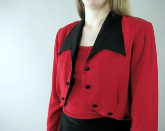 Vintage 1980's Pant Suit - Red and Black Pants and Bolero Jacket - Modern Size 10, Medium