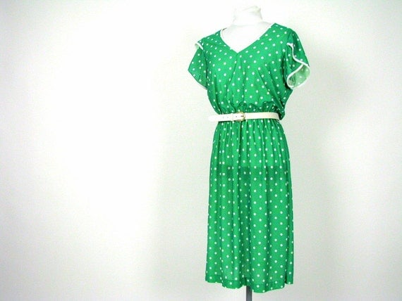Vintage 1970s Dress Green and White Polka Dots Modern Size 14P Large