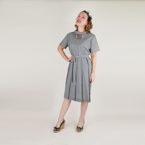 60s Black & White Gingham Check Pleat Skirt Dress with Great Neckline XL/Plus size