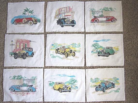 Vintage Automobiles Fabric Blocks - Cotton Quilting Squares