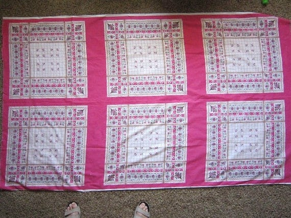 Pink Fabric Squares - Vintage Fabric Blocks -  2 yards - Price for All