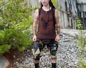 Post Apocalyptic Stained Deer Skull Mens Shirt Tank