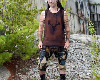 Post Apocalyptic Stained Deer Skull Mens Sleeveless Shirt Tank