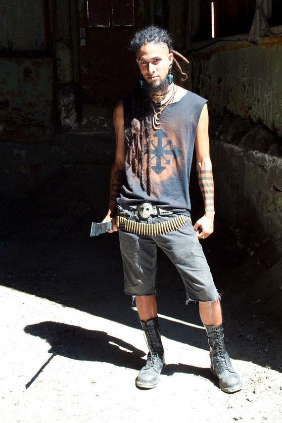 Men S Battered Chaos Shirt Post Apocalyptic