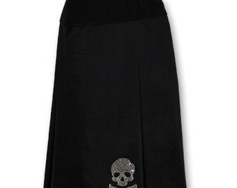 Rock Spirit Rhinestone Jolly Rogers Skull Black Pleated Maternity Skirt for Pinup Goth and Rockabilly Gals