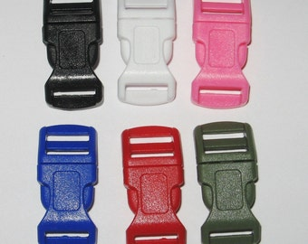 """100 total buckles any colors any combo 1/2"""" contoured side release buckle w adjuster bar curved S12"""