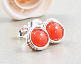 Orange Coral Studs, Sterling Silver Post Earrings, Coral Studs, Nectarine