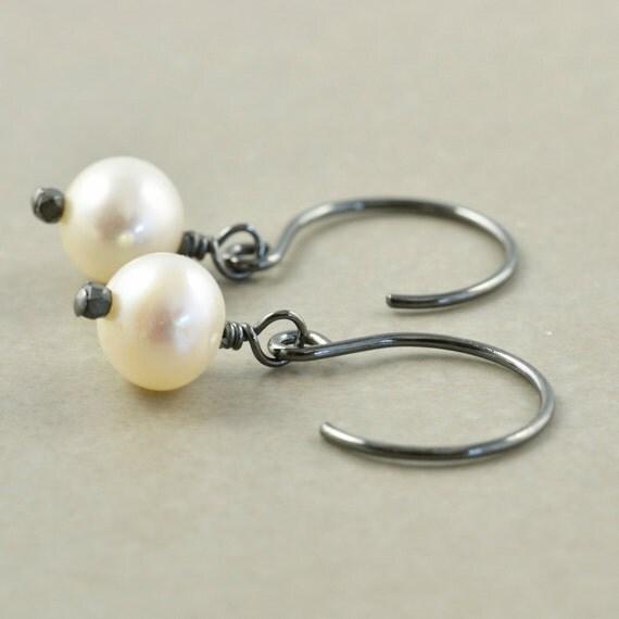 Pearl Earrings, Oxidized Sterling Earrings, Everyday Earrings, June Birthstone