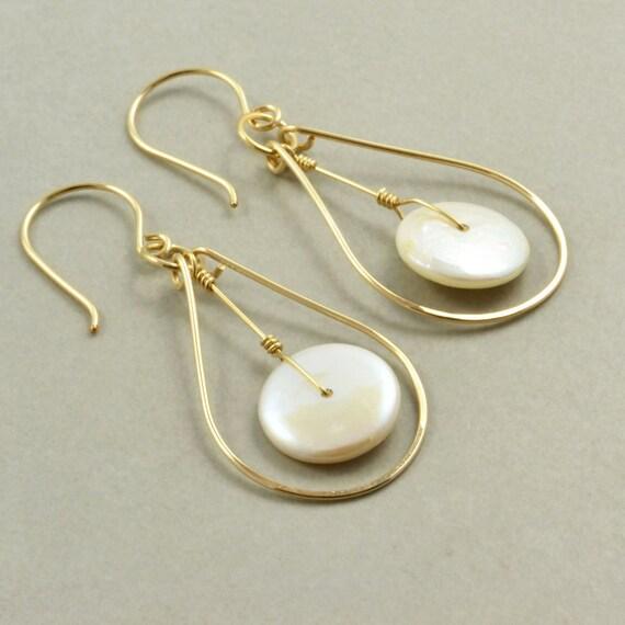 Pearl Gold Hoop Earrings, June Birthstone Jewelry