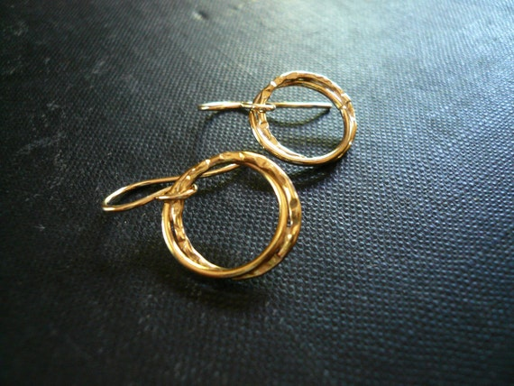Entwined Gold Rings Earrings in Gold Filled - Dainty Everyday Gold Earrings