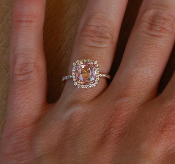 Reserved - Cushion peach champagne sapphire in 14k rose gold diamond ring and a matching band- final payment
