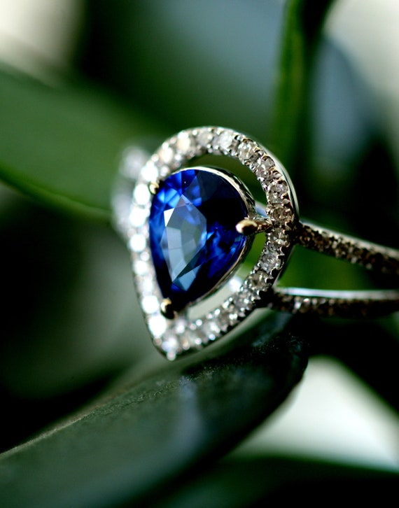 reserved -Royal blue pear sapphire diamond ring 14k white gold-1st payment