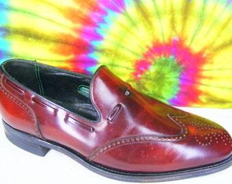 8.5 D mens vintage FLORSHEIM IMPERIAL wing-tip loafers burgundy leather shoes