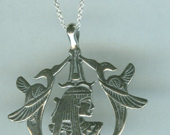 Sterling Silver ISIS Pendant and Chain Necklace - Egyptian