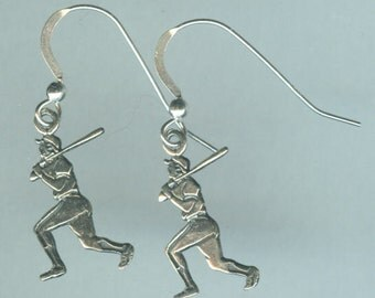 Sterling Silver BASEBALL PLAYERS Earrings - French Earwires -