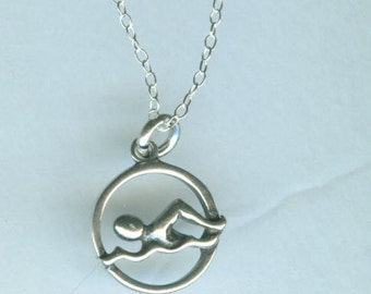 Sterling SWIMMER Pendant and 16 Inch Chain -