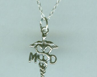 Sterling CADUCEUS MD Pendant AND Chain - Medical, Doctor
