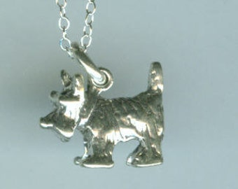 Sterling SCOTTY DOG Pendant with Chain - 3D Scottish Terrier