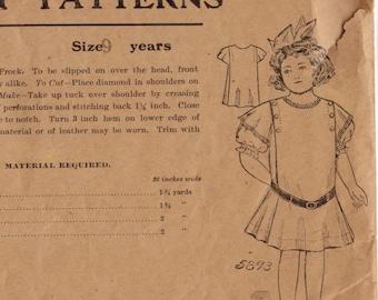 1910s Vintage Sewing Pattern Beauty Patterns 5893 Girls Drop Waist Frock Dress Size 9 Years Antique Edwardian Victorian