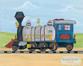 Boys Kids Choo Choo Train Locomotive Transportation Art Prints  Set of Two 8x10