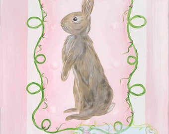 Brown and Pink Bunny Ready to Frame Kids Girls  Nursery Art Prints Set of Two 11x14