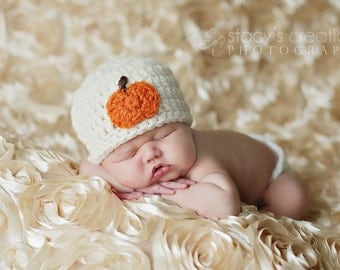 Crochet Baby Hat, Baby Halloween Hat, Baby Pumpkin Hat, Baby Girl Hat, Baby Boy Hat, Newborn Hat, Infant Hat, Baby Beanie, Fall Hat, Ivory