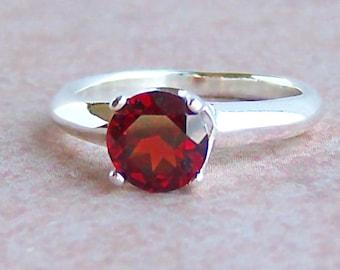 Genuine Mozambique Garnet Ring, Argentium Sterling Silver, Cavalier Creations