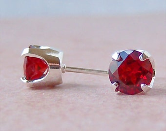 Mozambique Garnet 7mm Sterling Silver Stud Earrings, Cavalier Creations