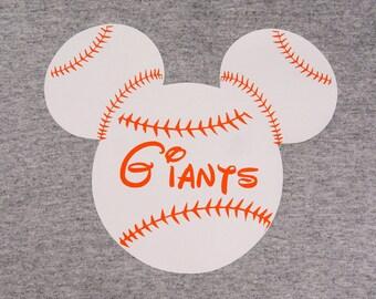 Personalized Custom Baseball Mouse Ears T Shirt