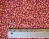 1 and 1/3 Yard Vintage Red with Yellow and Black Flowers Cotton Fabric