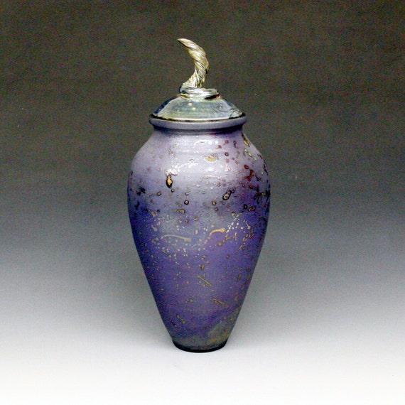 Purple Blue Lidded Raku Vase or Urn