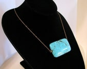 Big Chunky Turquoise Statement Necklace...Solid 14K Gold Minimal Modern