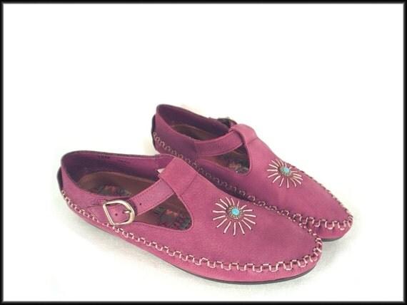 90's vintage southwest PURPLE leather moccasins flat shoes 10 M