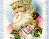 Large digital download Vintage Pink Santa Christmas Victorian ATC ACEO ECS buy 3 get one free