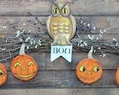 Vintage HALLOWEEN Owl Pumpkin Pattern PDF -  ornaments Banner ornies grubby decoration party