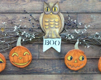 Vintage HALLOWEEN Owl Pumpkin Pattern PDF -  ornaments Banner ornies grubby decoration party