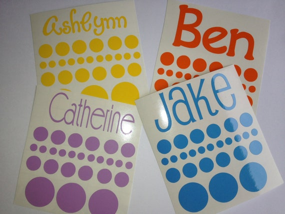 Vinyl Name Decals with Polka Dots