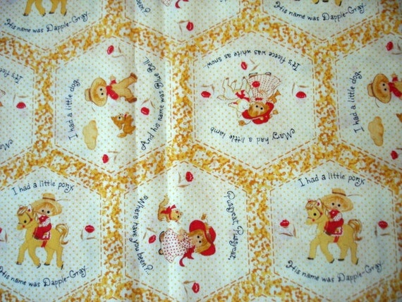 Vintage nursery rhyme fabric yellow prairie by for Yellow nursery fabric