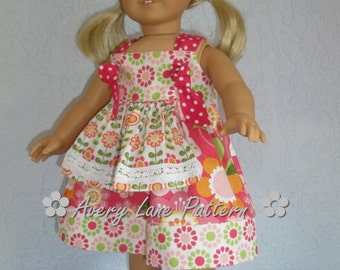 Doll clothes pattern Bundle Apron Knot Dress Doll clothing Pattern Avery Lane includes 2 sizes 15 inch and 18 inch dolls PDF Patron