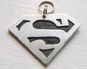 SUPERMAN Pet Id Tag-Unique Pet Tag-Custom Stamped Dog Identification Tag-MAN Of STEEL Pet Tag-Super Heroes Pet Id Tag-Dog Tag-Custom Pet Tag