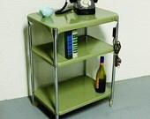 Vintage metal cart - serving cart - kitchen cart - Cosco - lima bean green - wheels - 3 shelf
