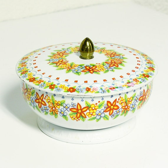 vintage tin - made in england - lid - base - orange red blue green flowers and scallops
