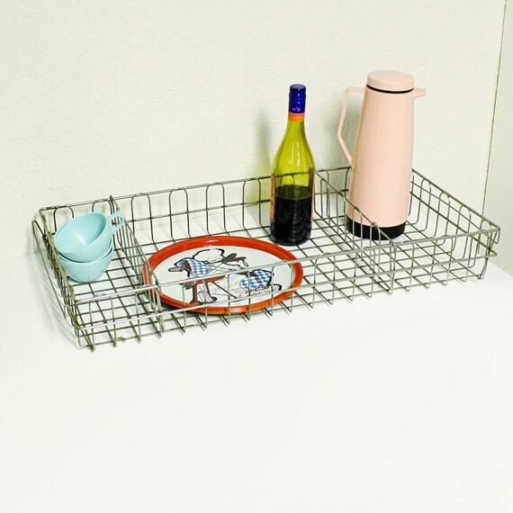 Vintage metal wire basket - crate - storage - organize - handles - metal tray - file basket