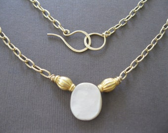 Organic Mother of Pearl Gold Beaded Necklace Byzantium Baroque Gold Necklace- Sample Sale