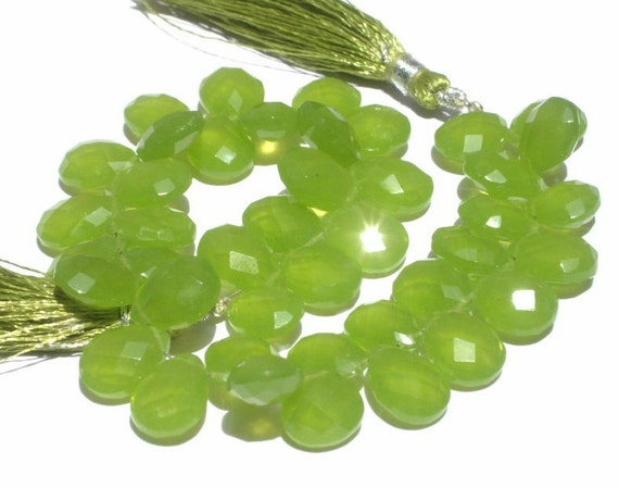 1/2 Strand - Finest Quality AAA Vesuvianite Green Chalcedony Faceted Pear Briolettes Size 12x9mm approx