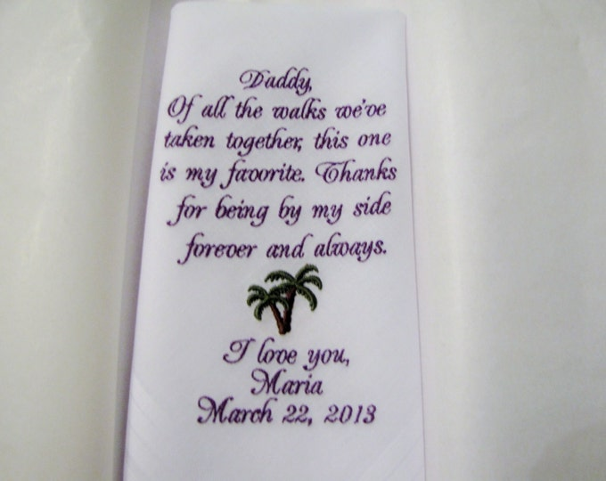 Tropical Palm Tree Father of the Bride Personalized Wedding Handkerchief in your wedding colors